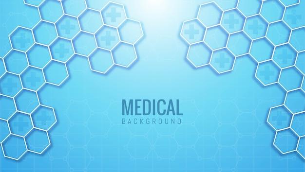Forma hexagonal médica y sanitaria abstracta