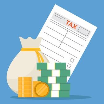 Forma de impuestos y dinero, diseño plano, ilustración vectorial