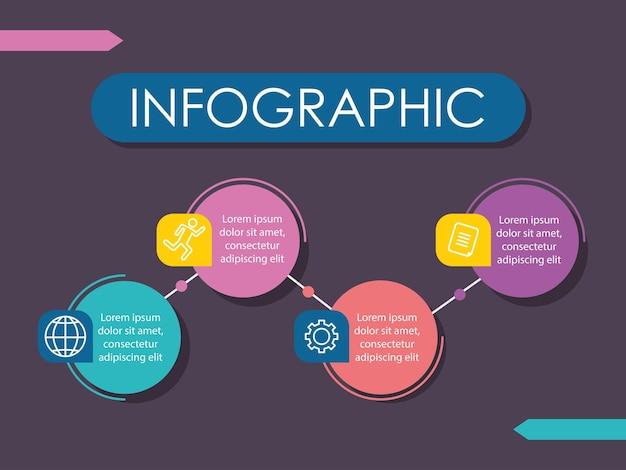 Forma de infografía redonda con cuatro opciones o pasos.