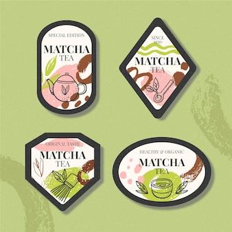 Forma de insignias para el té matcha
