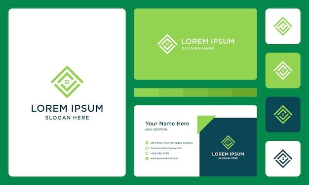 Forma del logo de la casa con logo a cuadros. vector premium. tarjeta de visita.