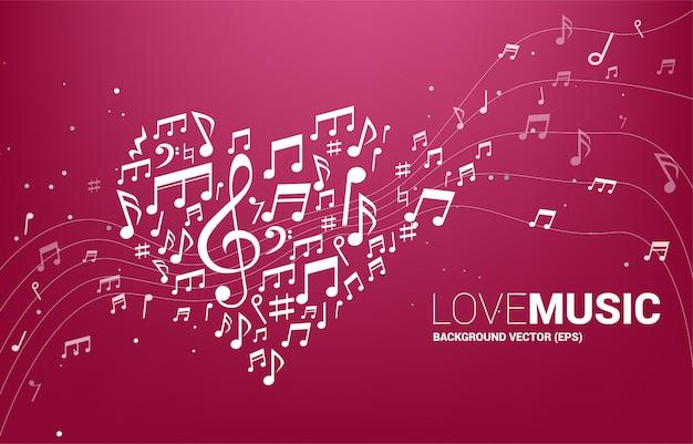 La forma de la nota de la melodía de la música del vector formó forma del corazón. concepto para la canción y el amor tema del concierto de música.