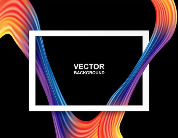 Forma de onda y marco blanco sobre fondo de color colorido