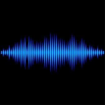 Forma de onda de sonido azul con filtro de luz triangular.