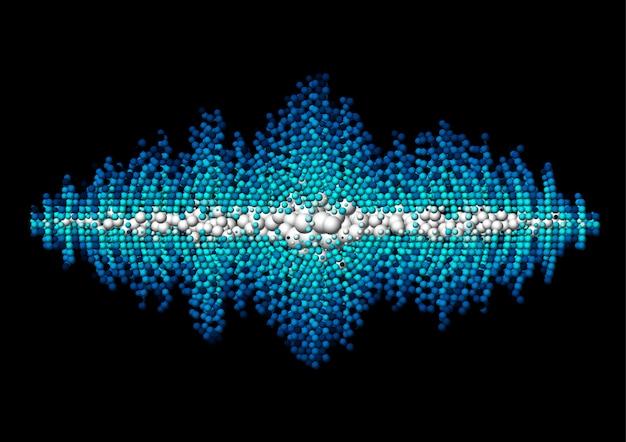 Forma de onda de sonido hecha de bolas caóticas.