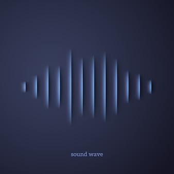 Forma de onda de sonido de papel con sombra