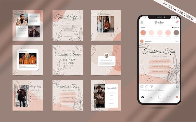 Forma orgánica con un conjunto abstracto de banner de alimentación de publicaciones en redes sociales. venta de moda de instagram cuadrado o promoción de blogger de belleza