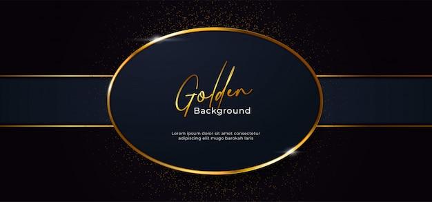 Forma ovalada brillante dorada con fondo de efecto brillo dorado
