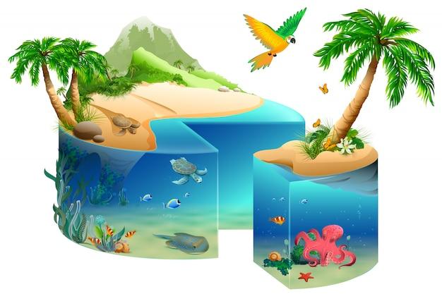 Forma de pastel de isla tropical paraíso aislada en blanco