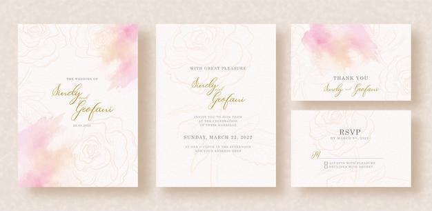 Forma de rosas con salpicaduras de colores mezclados sobre fondo de invitación de boda