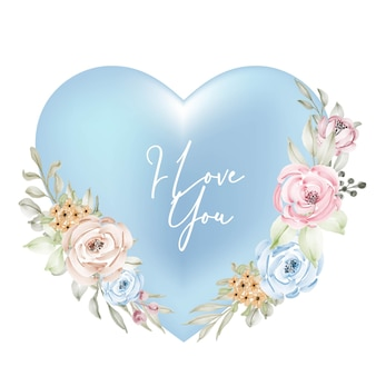 Forma, san valentín, azul, cian, marco, decoración, con, te amo, palabra, acuarela, flor