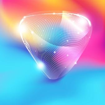 Forma de triángulo de malla blanca abstracta con brillo sobre fondo degradado de colores
