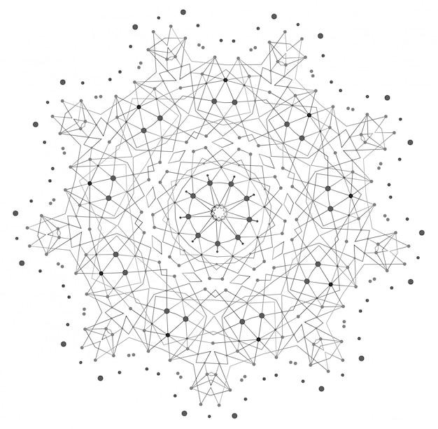 Forma vectorial, estructura molecular con líneas y puntos