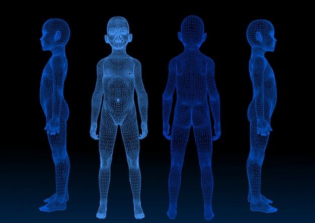 Forma vectorial, tecnología de escaneo azul bebé 3d