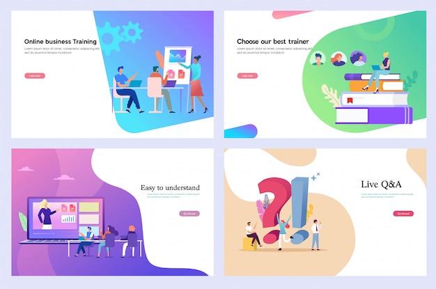 Formación empresarial, curso online, plantilla de diseño web, landing page.