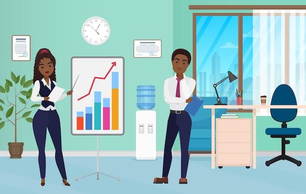 Formación empresarial de los trabajadores de oficina presentación de análisis de finanzas de personas en la oficina