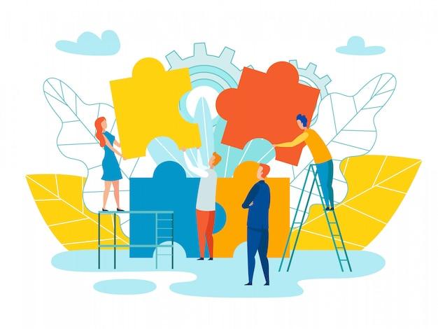 Formación de equipo y desarrollo ilustración vectorial