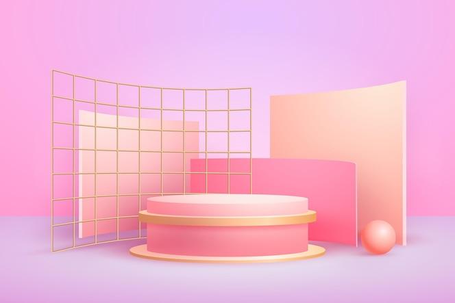 Formas 3d geométricas abstractas realistas laminadas en oro