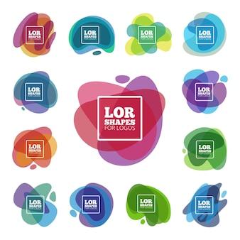 Formas abstractas en capas para el diseño de logotipos.
