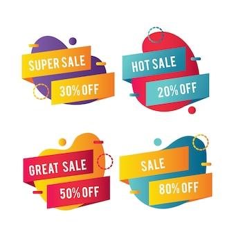 Formas abstractas y cintas para pancartas de ventas