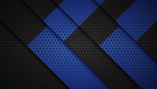 Formas abstractas del hexágono azul sobre fondo oscuro