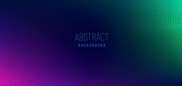 Formas abstractas de líneas onduladas violetas y verdes sobre fondo azul oscuro.