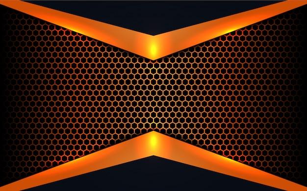 Formas abstractas de metal sobre fondo hexagonal