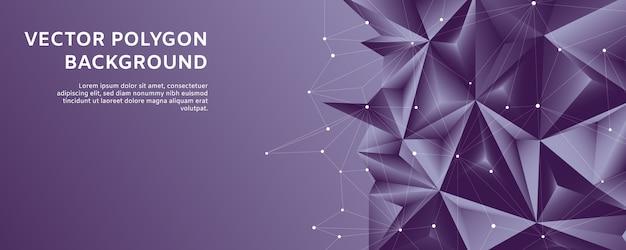 Formas abstractas poligonales de línea poligonal en fondo degradado violeta y blanco