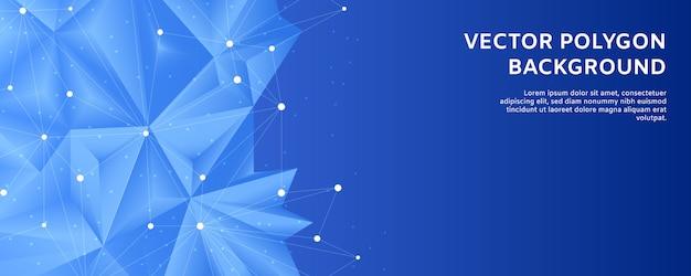 Formas abstractas poligonales y puntos de línea poligonal con fondo degradado azul y blanco