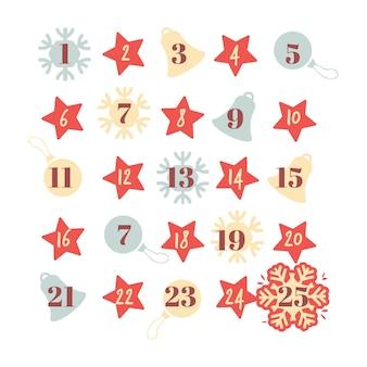 Formas para el calendario de cuenta regresiva de vacaciones