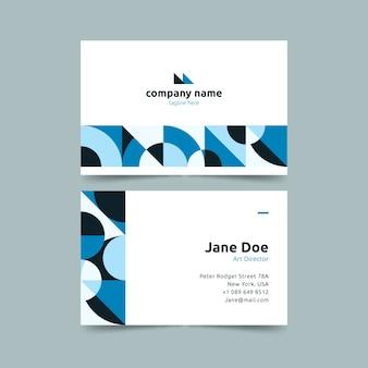 Formas circulares en plantilla de tarjeta de visita azul degradado