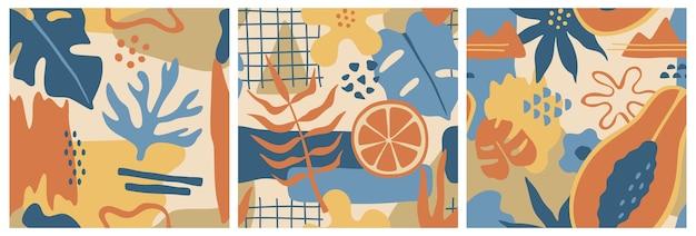 Formas coloridas abstractas, conjunto de tres patrones sin fisuras, flores dibujadas a mano y hojas de monstera en estilo doodle.