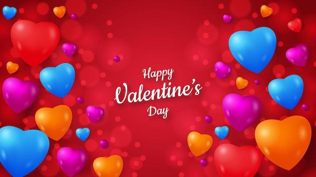 Formas coloridas de amor con efecto bokeh san valentín