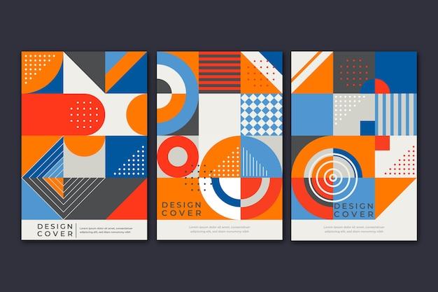 Formas coloridas y cubierta de puntos para la colección de libros.