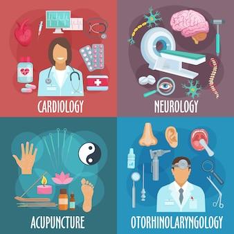 Formas convencionales y alternativas de iconos de medicina de símbolos planos de cardiología, neurología, acupuntura y otorrinolaringología