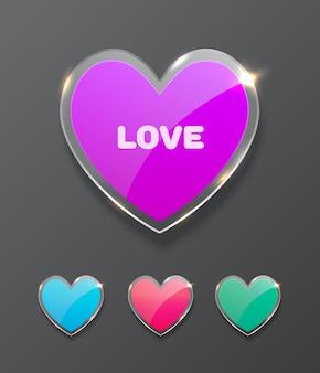 Formas de corazón de vidrio. concepto de día de san valentín. ilustración vectorial realista