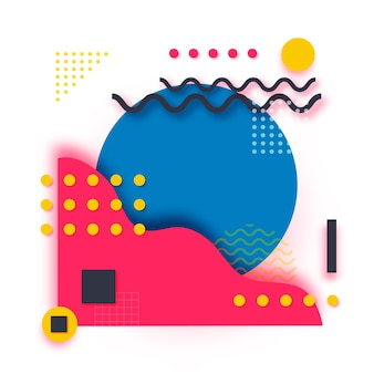 Formas de corte de papel de memphis. pop art y estilo años 80. geométrica abstracta de moda.