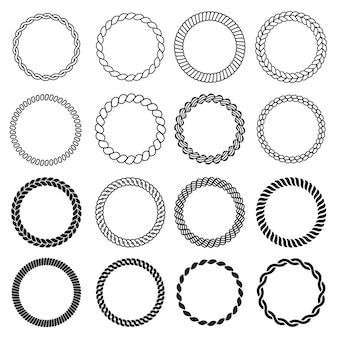 Formas de cuerda redonda. marco náutico circular para etiquetas plantilla de diseño de borde de nudo de mar decorativo. ilustración marco de círculo de cuerda, cuerda redonda marina, cable trenzado