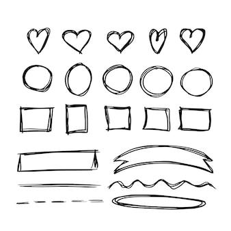 Formas de doodle con corazones, círculos, marcos cuadrados y cintas