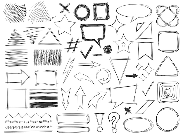 Formas de doodle. dibujos a lápiz, trazos de texturas monocromas, flechas y marcos, bordes y distintivos rayados, conjunto de vectores de forma redonda y cuadrada. burbujas de diálogo, dirección, exclamación y signos de interrogación.
