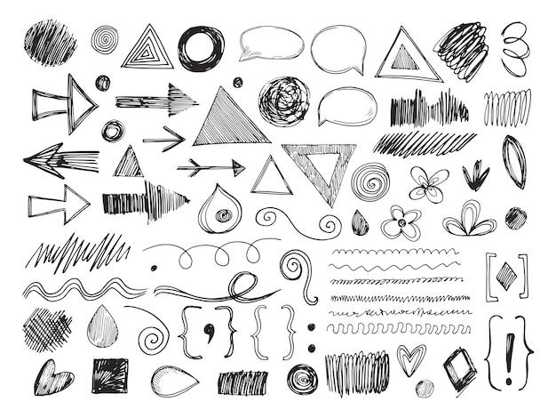 Formas de doodle. flechas de lápiz, texturas dibujadas a mano y bocadillos. boceto de bordes y marcas conjunto aislado.