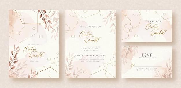 Formas elegantes y acuarela de hojas sobre fondo de invitación de boda