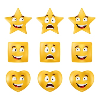 Formas emocionales: cuadrado, estrella, círculo, corazón. figuras geométricas básicas con diferentes expresiones faciales. conjunto de emoticonos aislado sobre un fondo blanco.