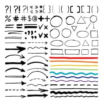 Formas escritas con rotulador. resalte flechas escritas a mano, líneas y signos aislados