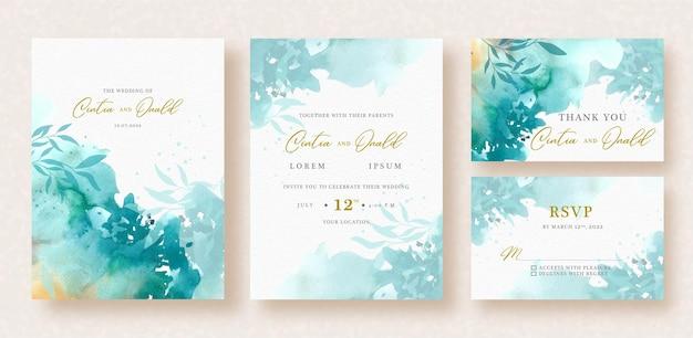 Formas florales salpican acuarela en invitación de boda