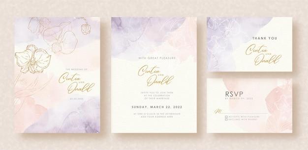 Formas de flores salpican fondo acuarela en invitación de boda