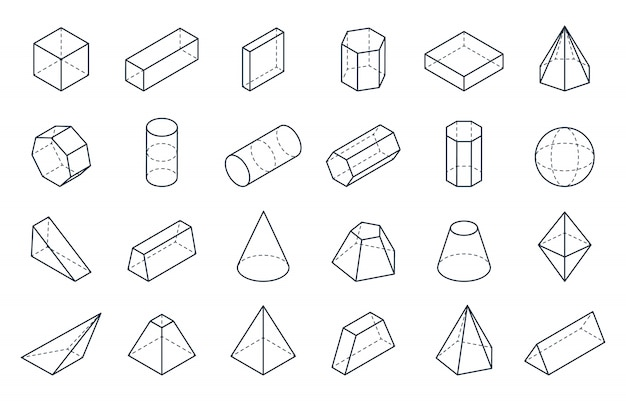 Formas geométricas en 3d. formas lineales isométricas, cubo cono cilindro pirámide bajo polígono objetos. isométrica mínima