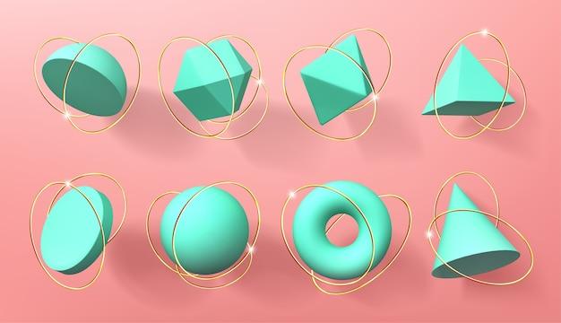 Formas geométricas 3d turquesa con anillos dorados