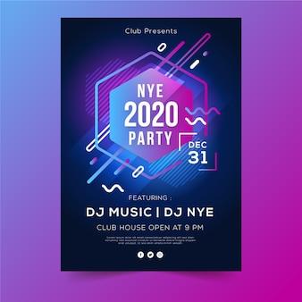 Formas geométricas abstractas de flyer año nuevo 2020