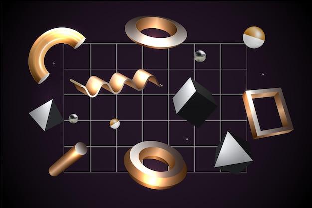 Formas geométricas antigravedad en efecto 3d
